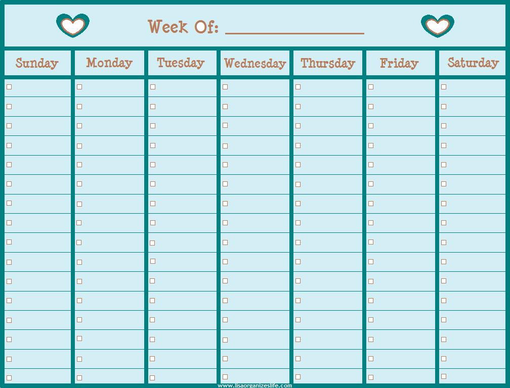 6 Best Images Of Printable Blank Weekly Calendar