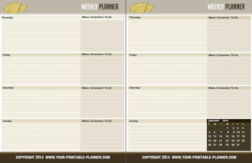 6 Best Images Of Printable Weekly Planner Calendar Page