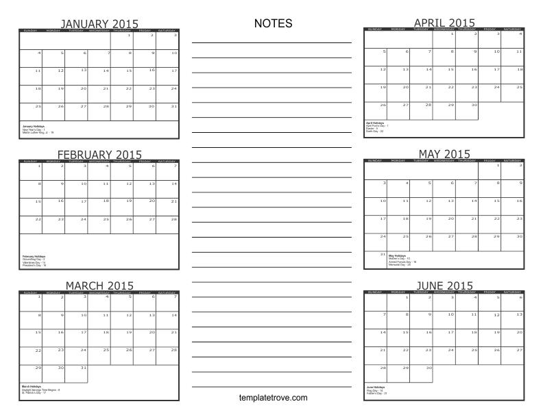 6 Month Calendar Template