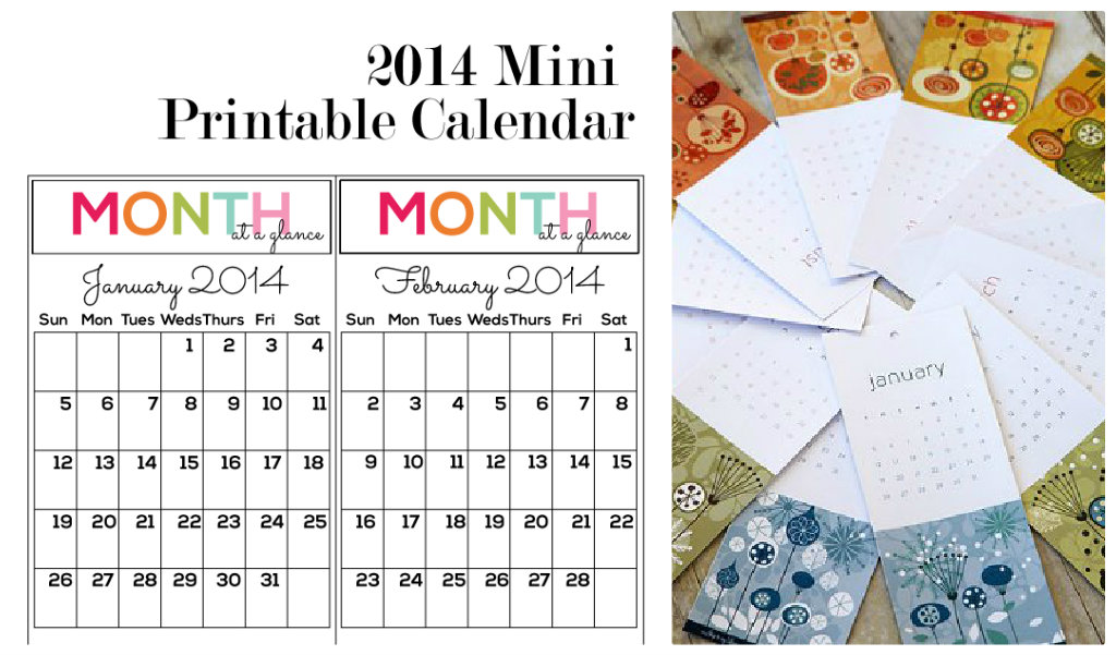 7 Best Images Of Printable Mini Calendars 2014