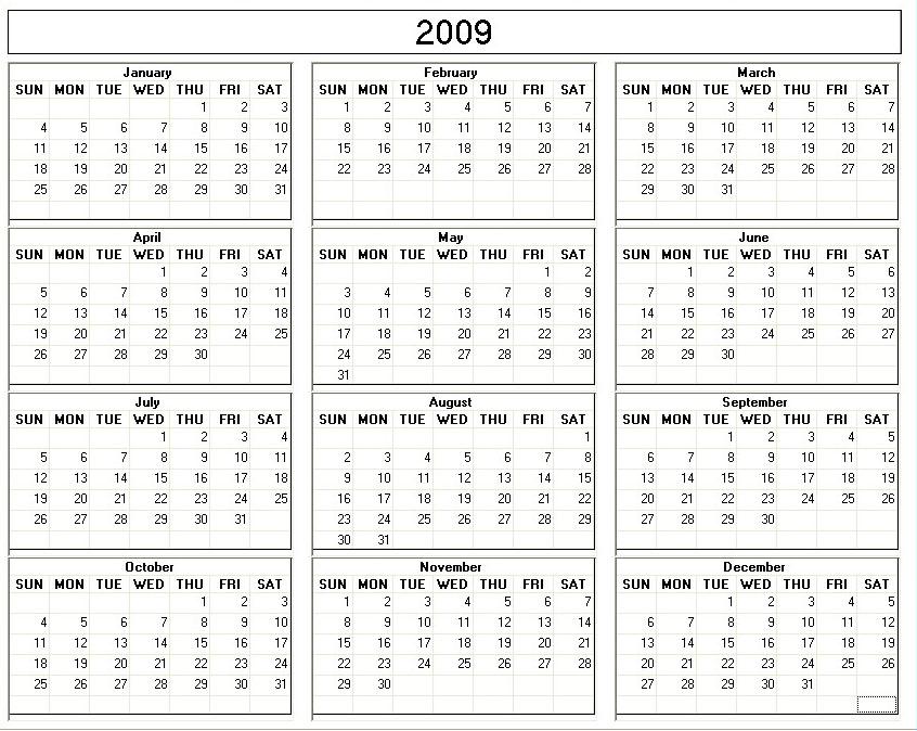 8 Best Images Of 2009 Calendar Free Printable