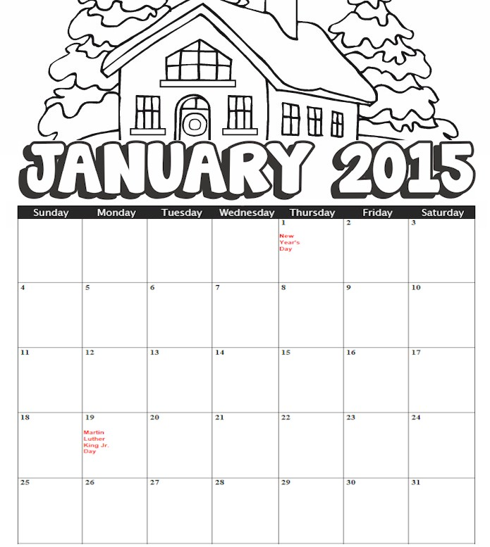 8 Best Images Of 2015 Calendar Free Printable Coloring Pages