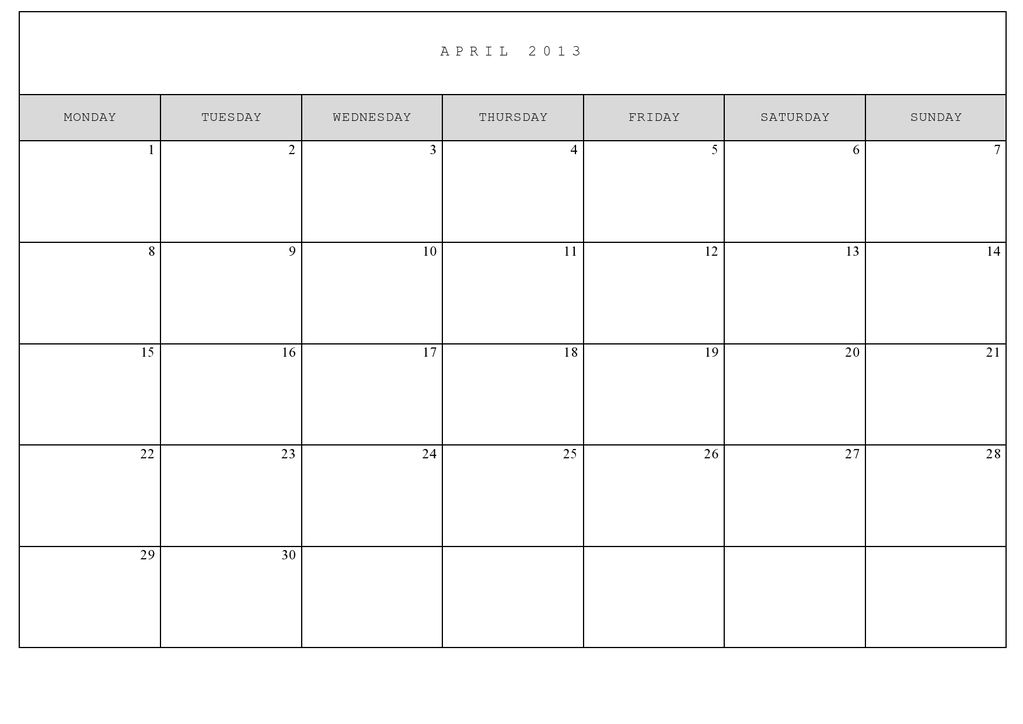 8 Best Images Of Full Size Printable Monthly Calendars