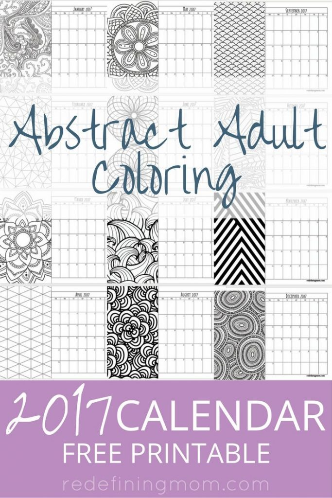 Abstract Adult Coloring 2017 Calendar Free Printable