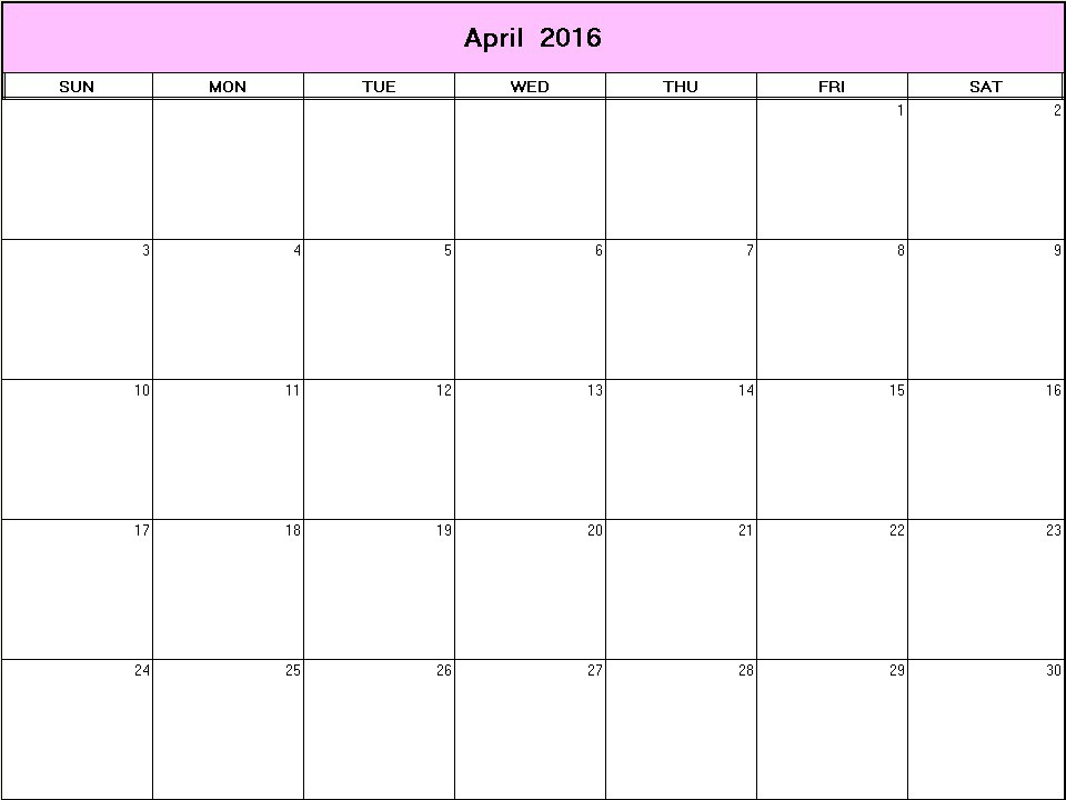 April 2016 Printable Blank Calendar