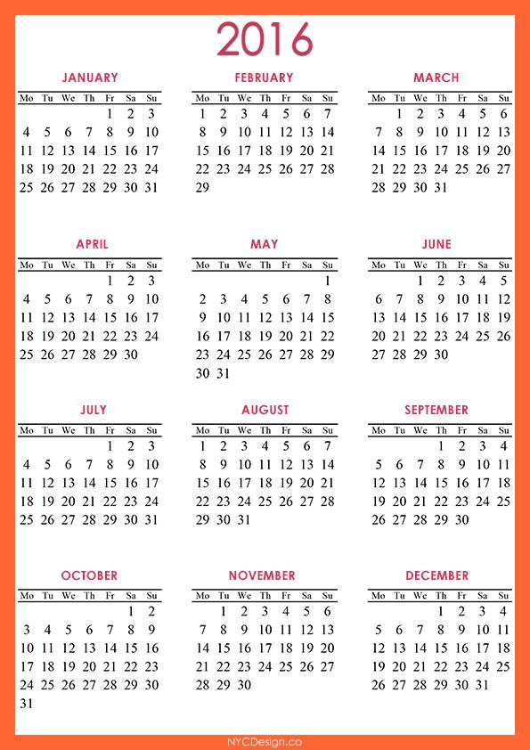 Best Photos Of 2016 Calendar Printable Org