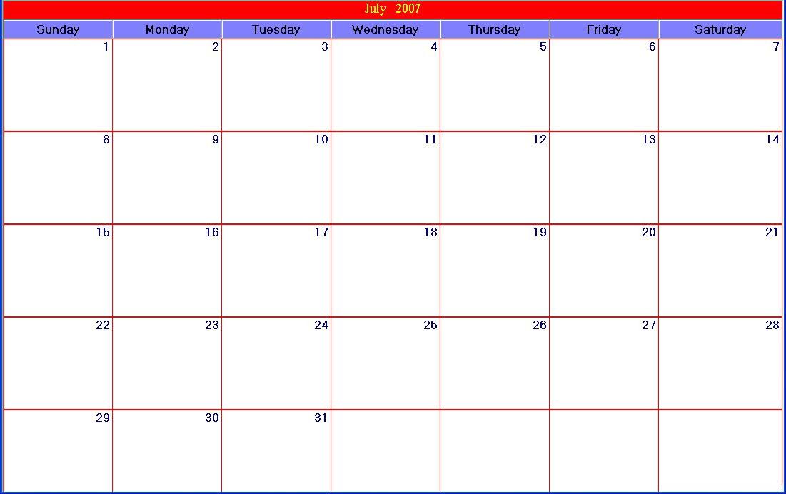 Diy Exercise Calendar : Printable calendar template