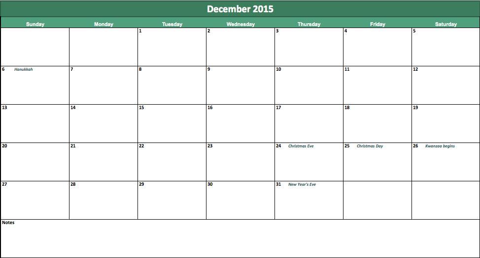 Best Photos Of December 2015 Calendar Template