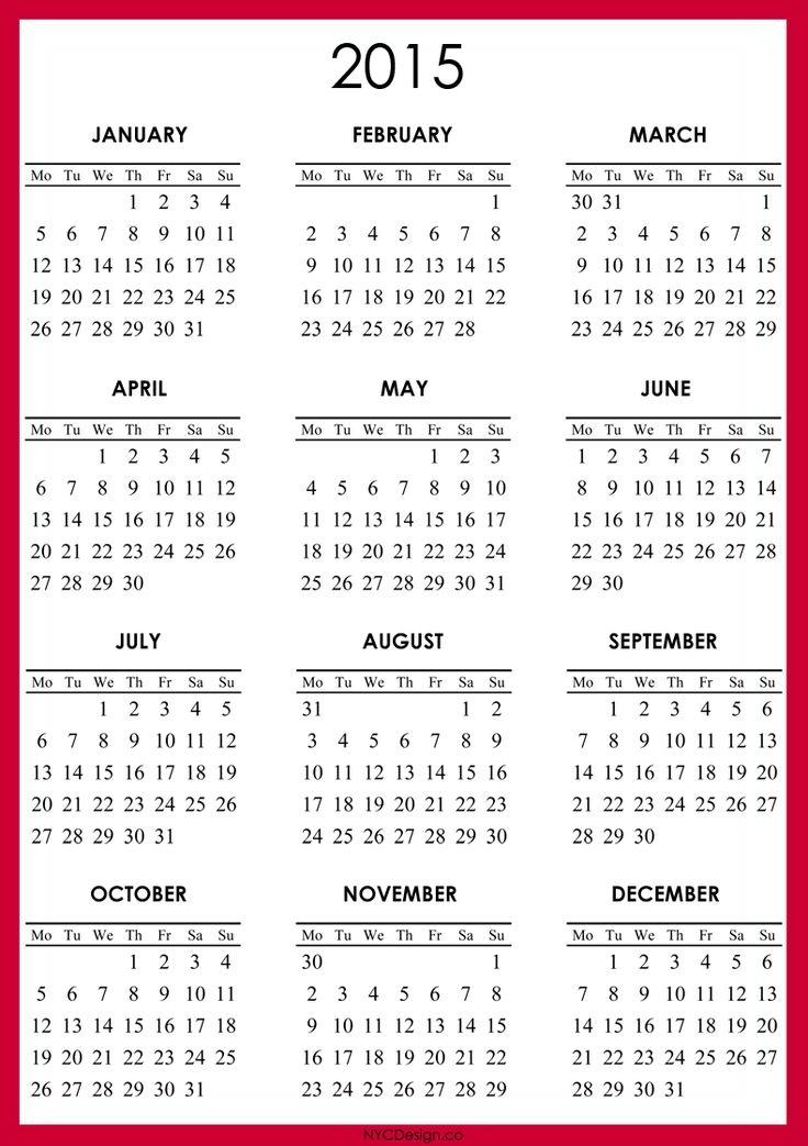 Best Photos Of Free Printable 2015 Calendar