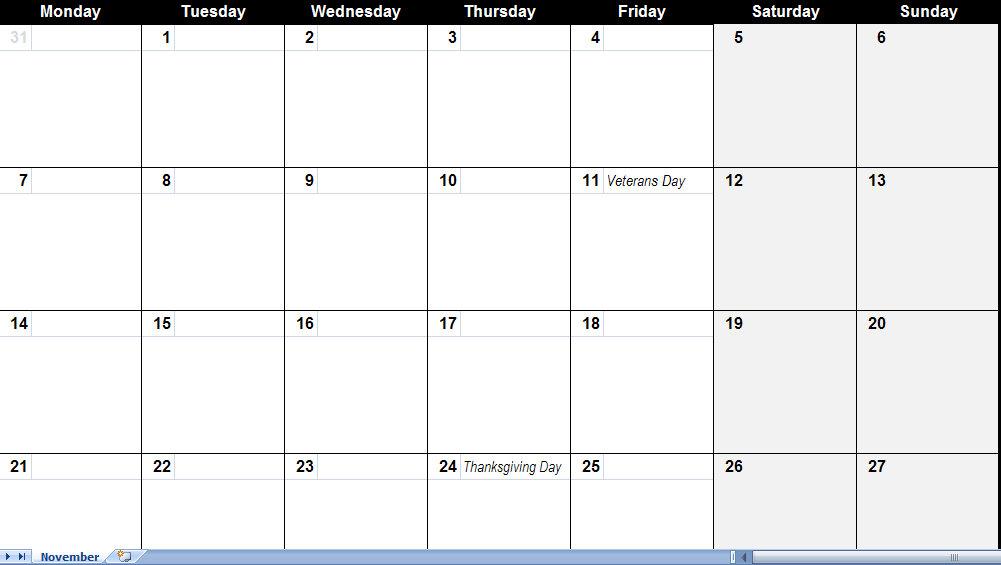 Big Calendar November