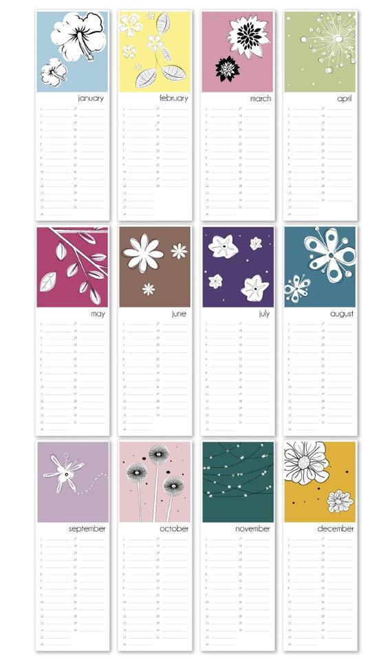 Birthday Calendar Flowers Printable Pdf By Lilycards On Etsy