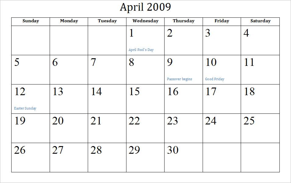 Blank October 2009 Calendar