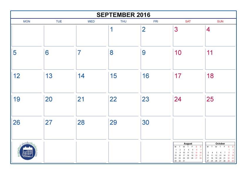 Calendar September Canada