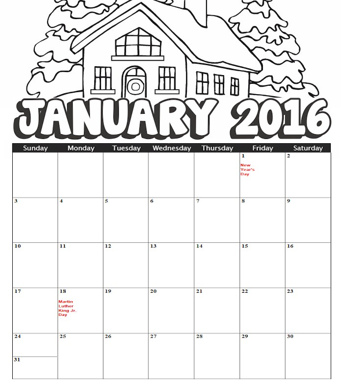 Coloring Printable Calendar