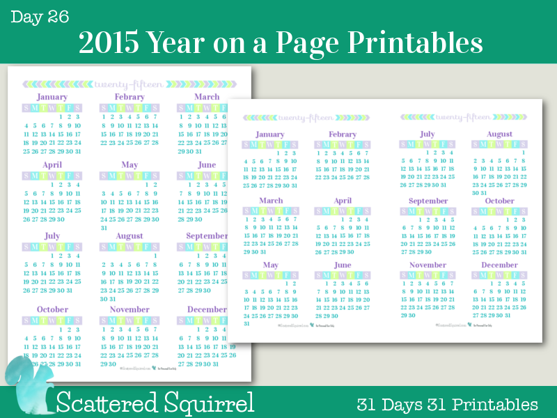 Day 26} 2015 Year On A Page Printable Calendars