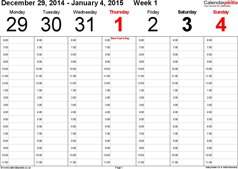 Day Calendar Template Pdf