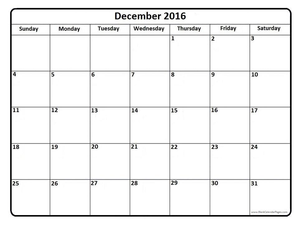 December Calendar 2016