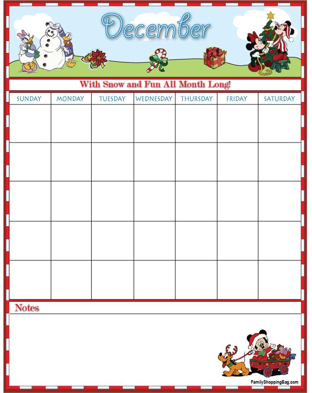 Disney Printable December Calendar Page