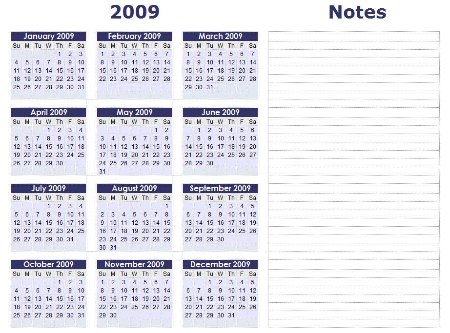 Download Online Calendar 2009