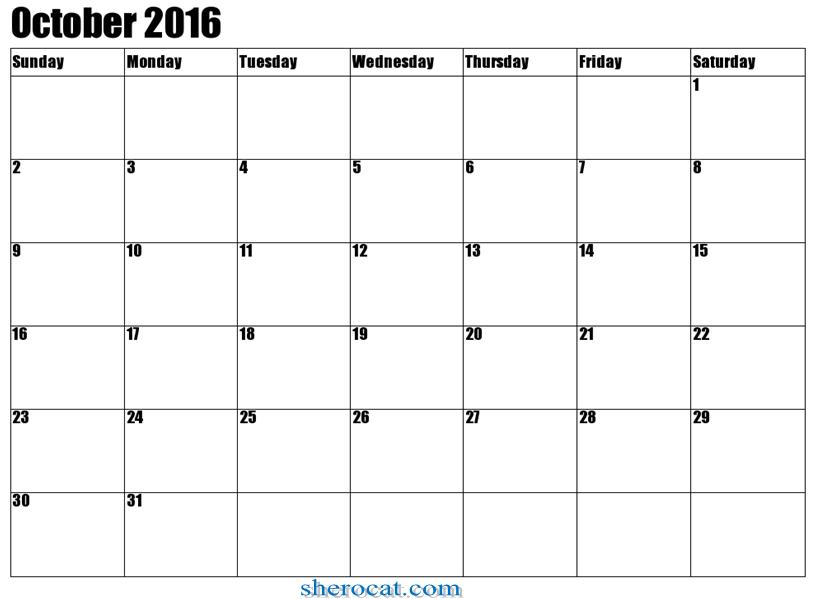 Free October 2016 Calendar Printable Cute Pdf Excel Word