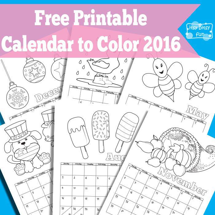 Free Printable Coloring Calendar 2016