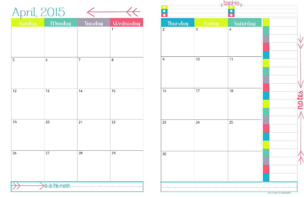 Free Printable Monthly Calendar 2015