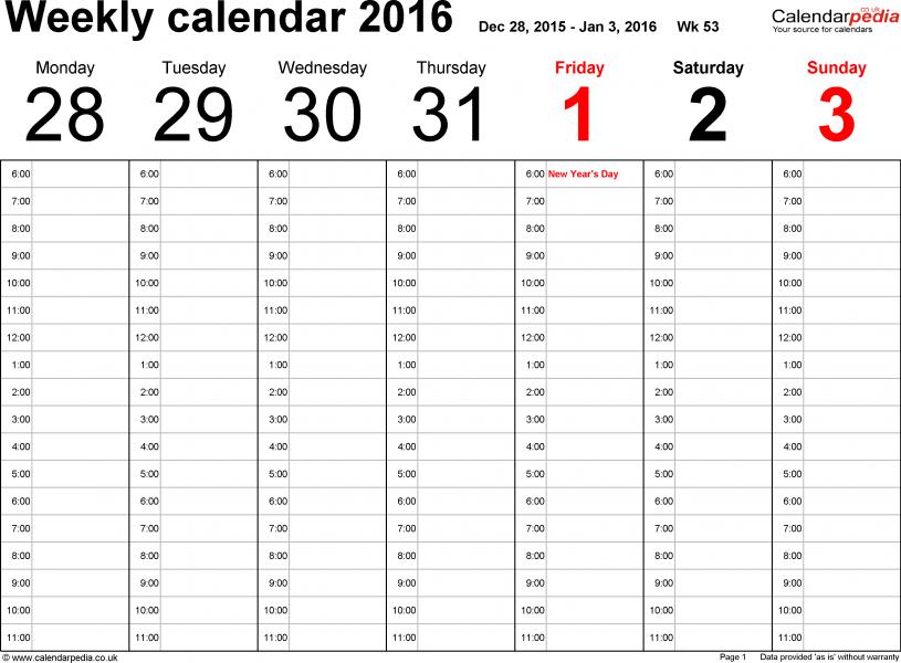 Free Printable Work Schedules Printable Weekly Calendar Pages