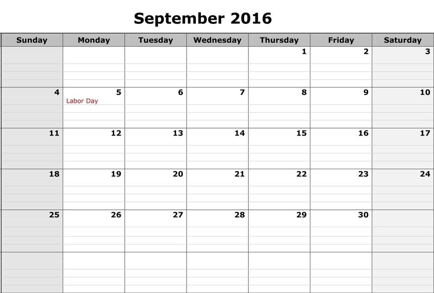 Free September 2016 Us Printable Calendar Download