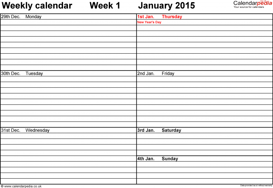 Free Weekly Calendar 2015 Free Weekly Calendar Planner Templat