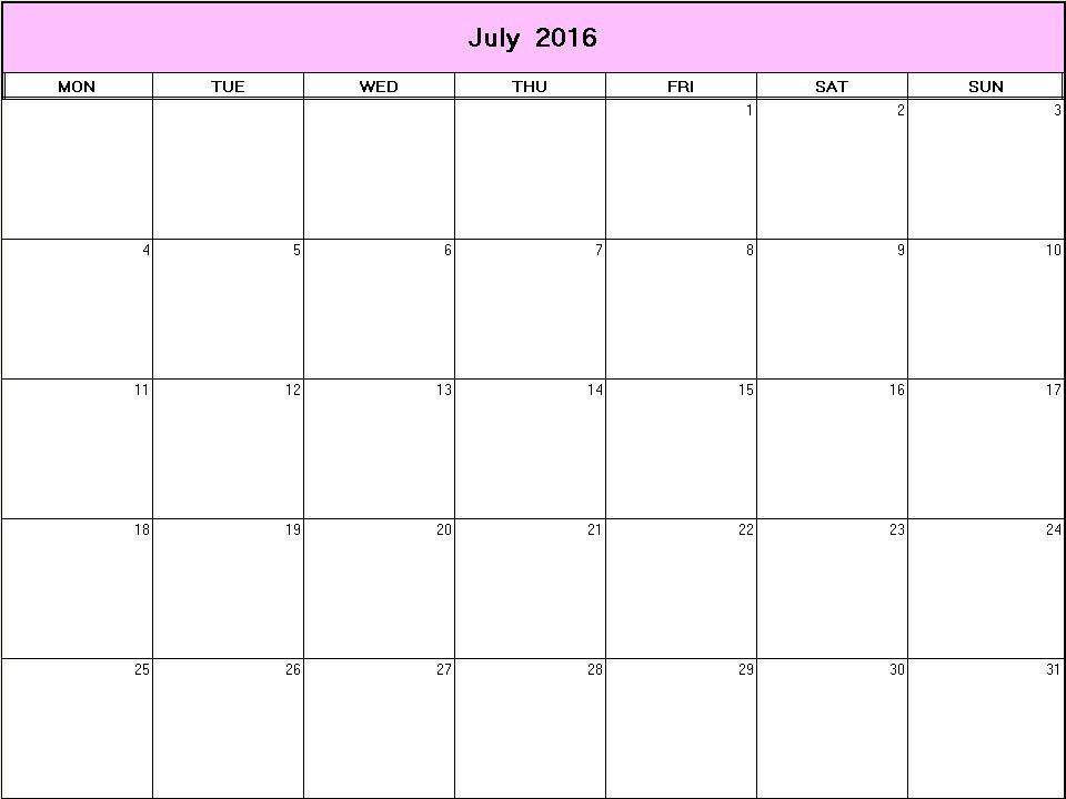 July 2016 Printable Blank Calendar