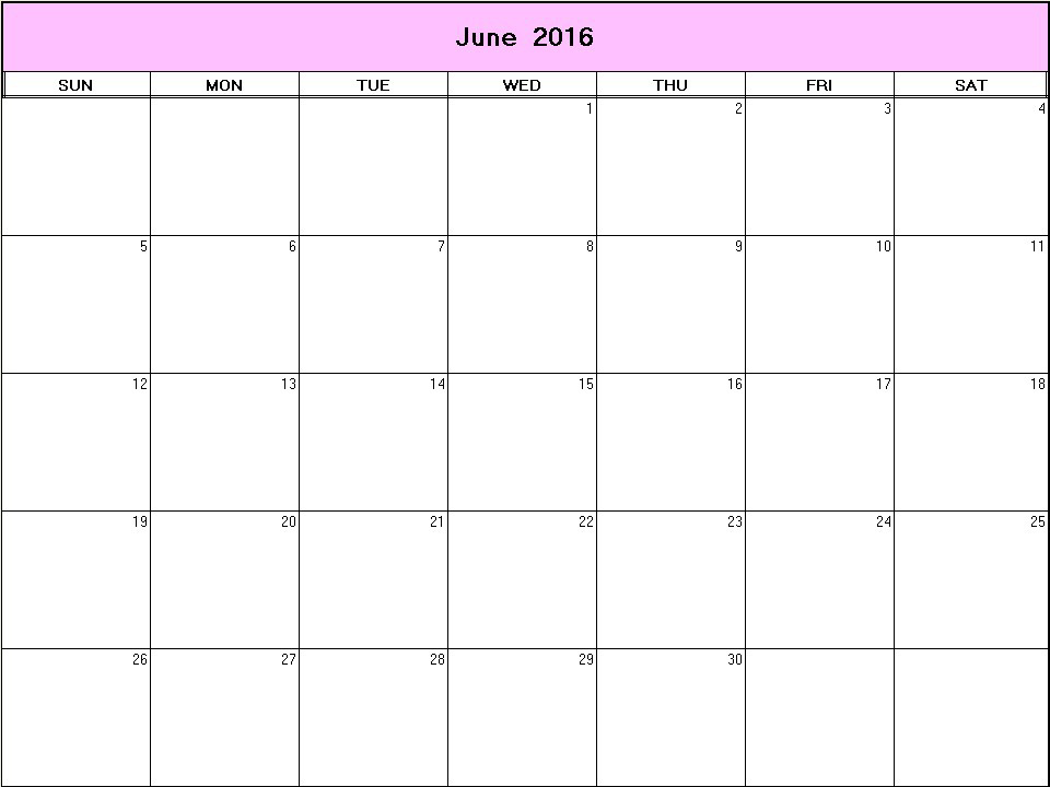 June 2016 Printable Blank Calendar