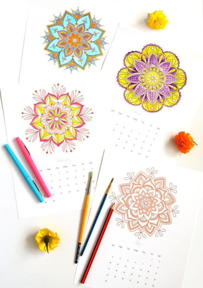 Mandala Coloring Pages + 2016 Calendar