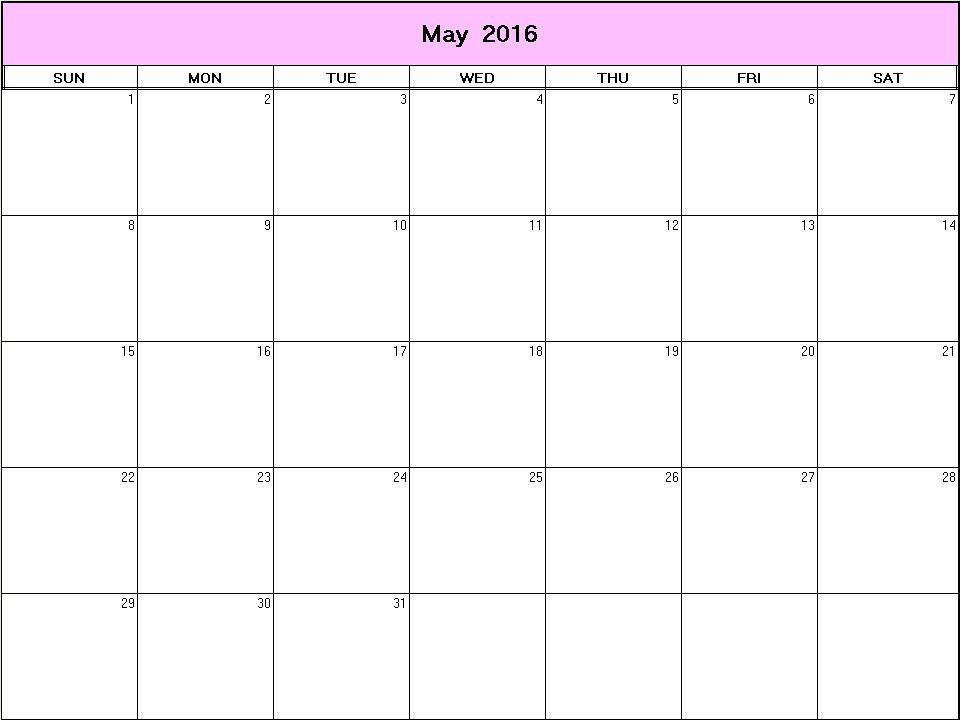 May 2016 Printable Blank Calendar
