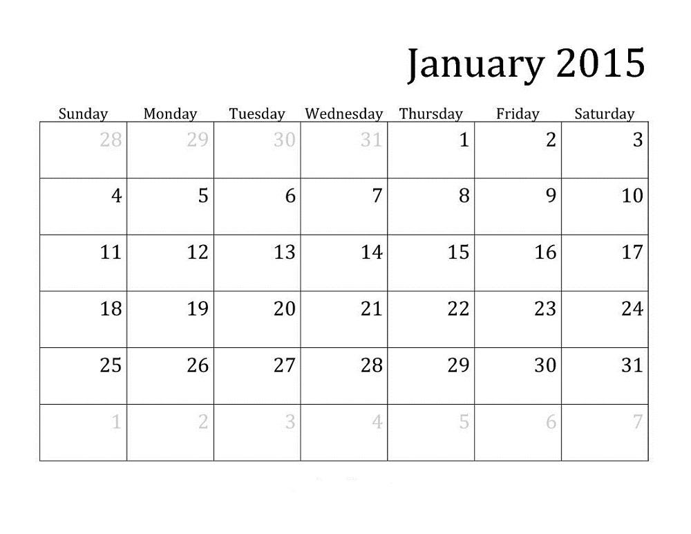 Monthly Calendar Printable 2015 June