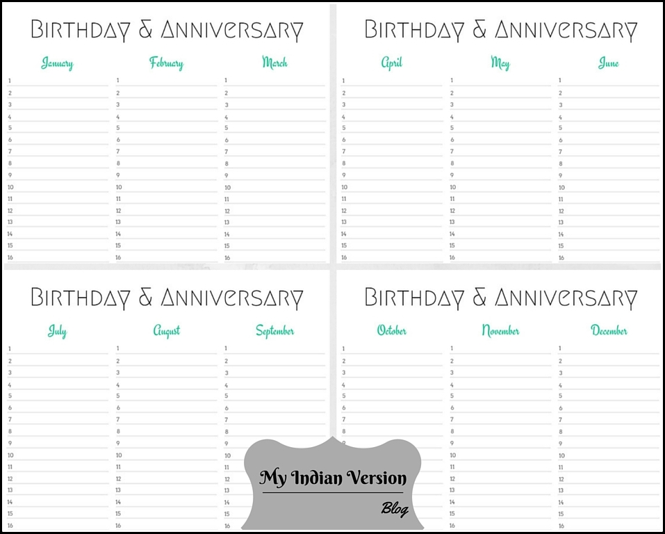 Printable Birthday Calendars 187 Calendar Template 2017