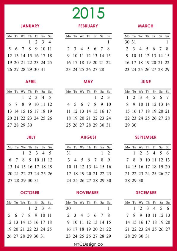 New York Web Design Studio, New York, Ny  2015 Calendar Printable