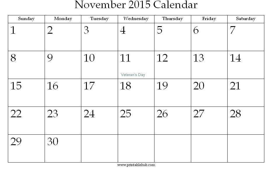 November 2015 Printable Calendar Â« Printable Hub