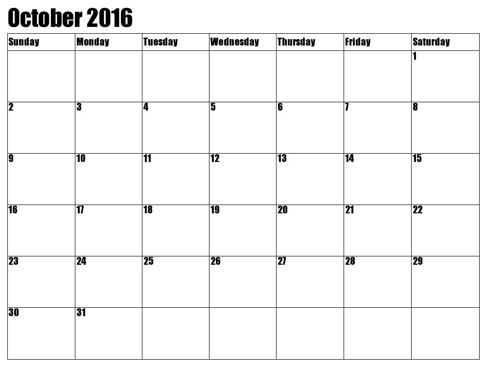 October 2016 Printable Calendar, Blank October 2016 Calendar Templates