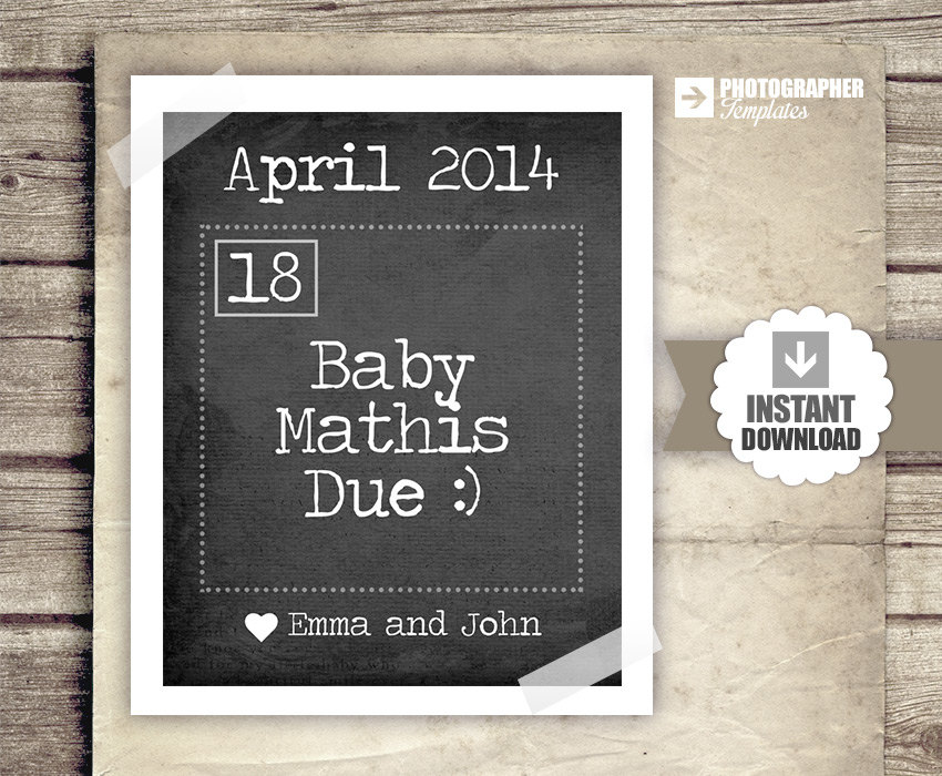 Pregnancy Announcement Calendar Baby By Studiotwentynine On Etsy