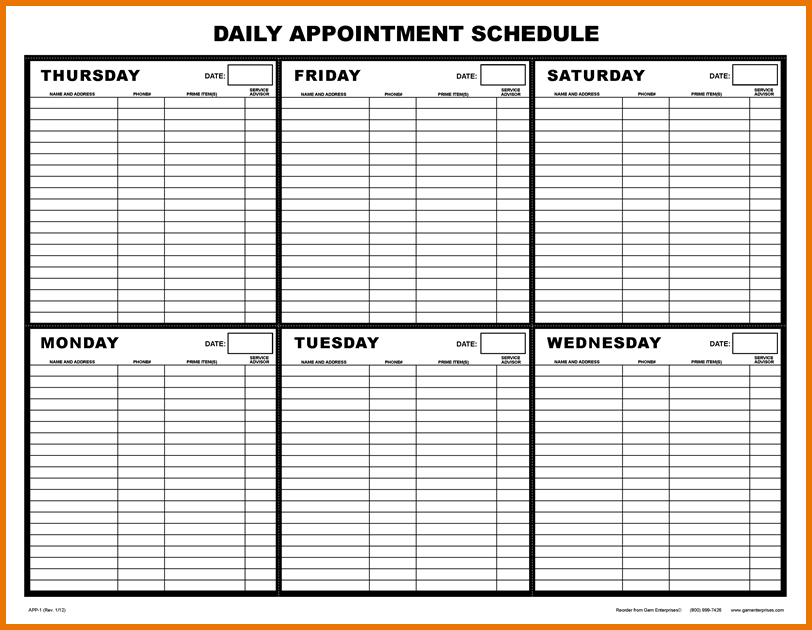 Printable Appointment Calendar App1dailyappointmentschedule 4 Png