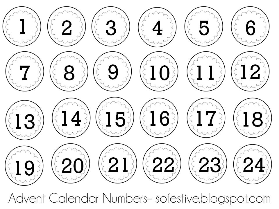 Printable Calendar Numbers For Christmas