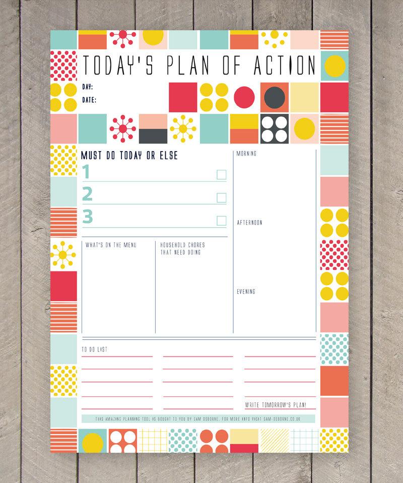Printable Day Planner Family Organiser Mid By Samosbornestore