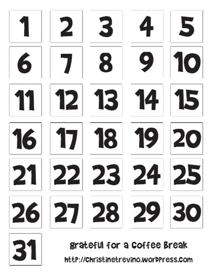 Printable Numbers, Calendar Printable And Diy Advent Calendar On