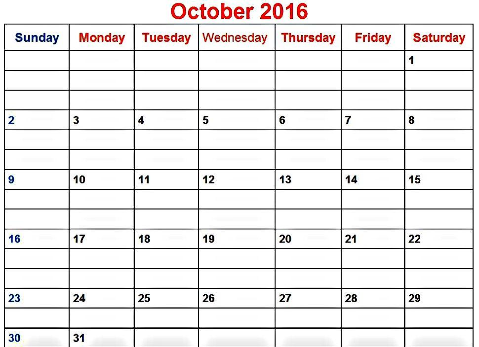 Printable October 2016 Calendar