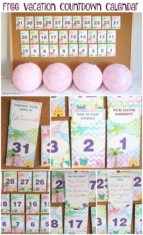 Vacation Countdown, Countdown Calendar And Free Printable On Pinterest