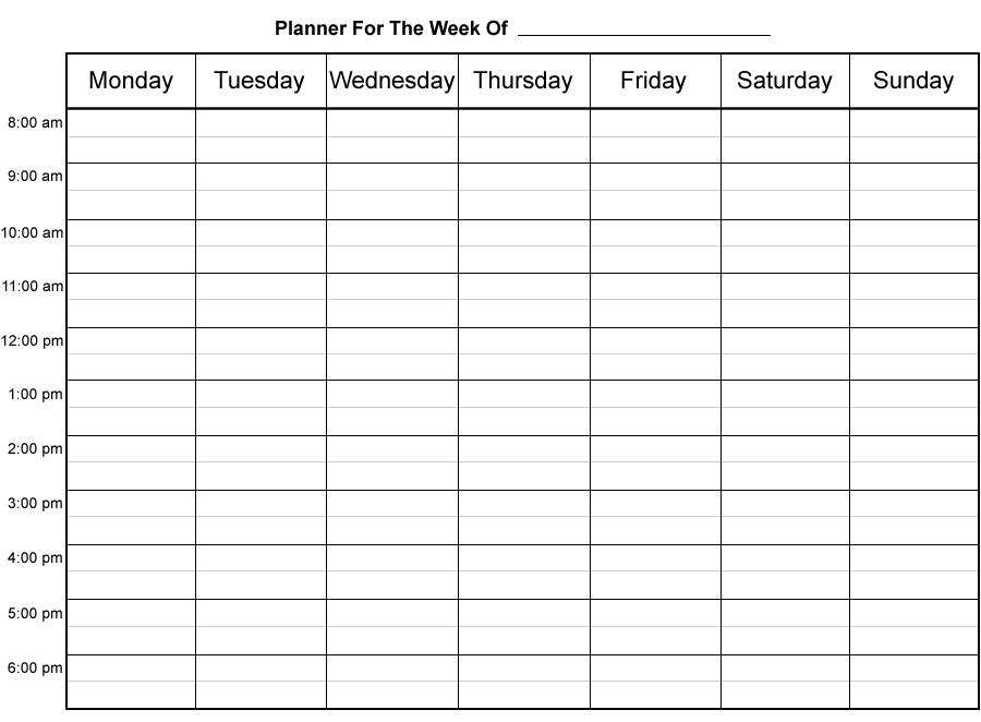 Weekly Calendar Printabletestoxplode Com