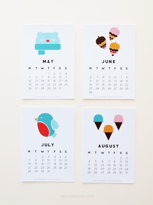 Year Of Colour  Printable Calendar 2014