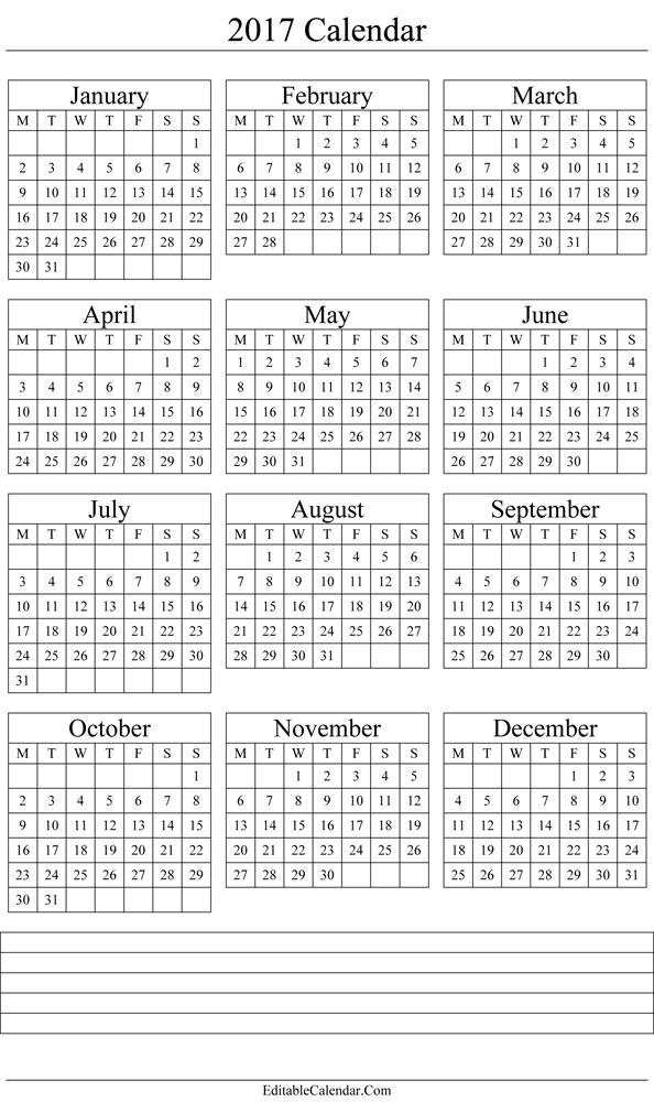 Yearly Calendar 2017 Printable Template