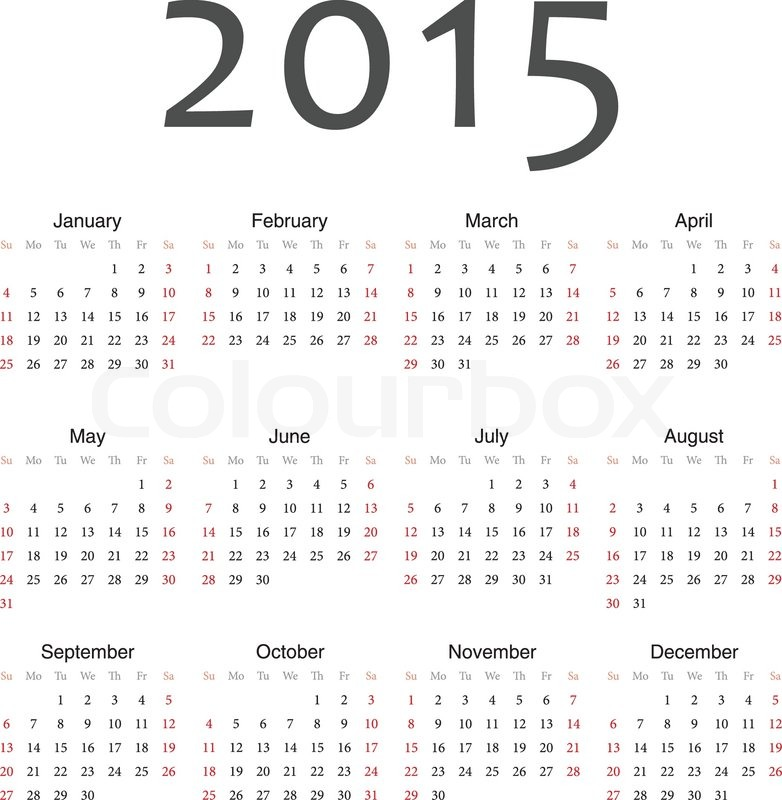 Yearly Calendar By Month 2015