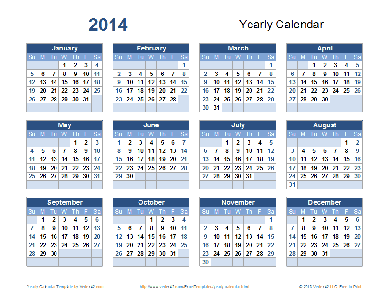 Yearly Calendar Template For 2016 And Beyond